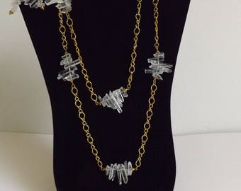 Natural unpolished Quartz crystals necklace and earrings set