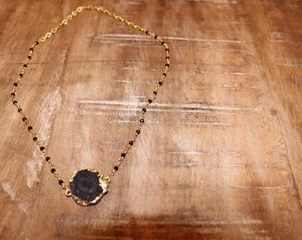 Black Rosary Chain Necklace