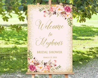 Welcome Bridal Shower Sign, Bridal Shower Welcome Sign, Large Welcome Sign, Floral Welcome Sign, Large Poster, Printable Welcome Sign, B-130