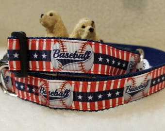 Basball Handmade Dog Collar 1 Inch Wide Large & Medium
