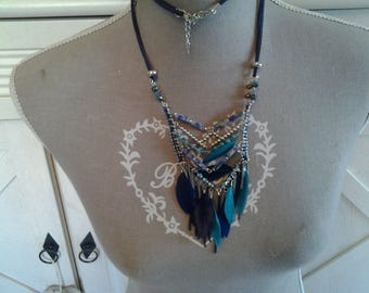 Country style necklace has blue feathers