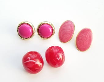 Totally 80s - New Wave Pink Earrings - Choice of 3 Different Styles! Classic 1980s Party Fashion-Great Condition! Light and Dark Pink!