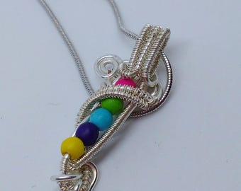 Rainbow necklace, colourful pendant, wirework jewellery, pride jewellery, dainty necklace, bright necklace, colourful gift idea, pick me up