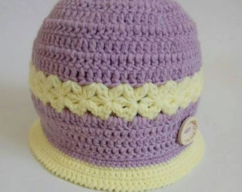 Hat for little princess Child hat Girls hat Purple hat Kids hat Baby hat Spring hat