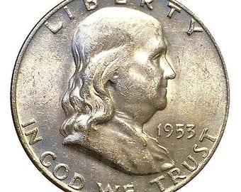1953 D Franklin Half Dollar - BU / MS / Unc - Luster