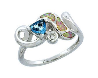 Sterling Silver Pink Opal Multistone Ring Topaz CZ Accent