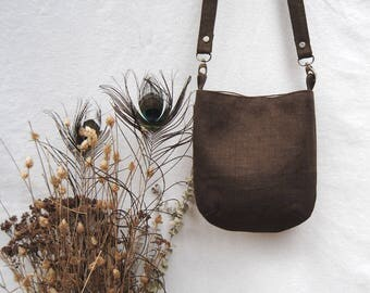 vegan coffee brown linen satchel, shoulder bag, crossbody bag, tote bag/travel bag