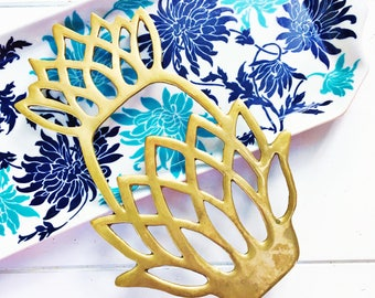 Vintage Brass Pineapple Trivet, Brass Kitchen Accessories, Boho Chic Decor