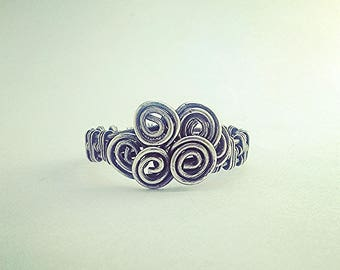 Silver ring, wire-wrapped, intricate, antiqued