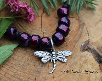Purple Picasso Dragonfly Necklace, Beaded Necklace, Charm Necklace, Purple Necklace, Dragonfly Jewelry, Adjustable Necklace