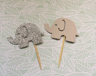 Baby Elephant Cupcake Toppers, Glitter Toppers, Baby Shower, Baby Girl, Baby Boy, Baby Shower, Baby Shower Decor, Cupcakes, Cake