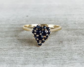 Vintage heart shaped sapphire cluster ring