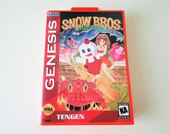 Snow Bros Nick and Tom - Sega Genesis Cart w/ Case Box (Special Red Case Edition) Custom English Version Reproduction