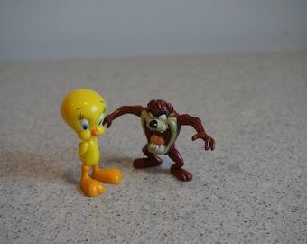 Vintage Looney Tunes Plastic Minifigures -Taz Tasmanian Devil and Tweety Bird
