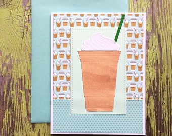 Coffee Card - Coffee Birthday Card - Birthday Card for Her - Frappe - Iced Coffee - Coffee Lover Card - Coffee Addict - Coffee Birthday