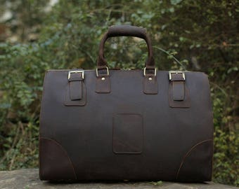 Leather Duffel Bag / Weekender Bag/ Travel Bag/ Father's Day gift/ Native Leather Design