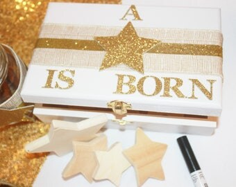 """Customizable """"A Star Is Born"""" Guest Advice Wood Box 