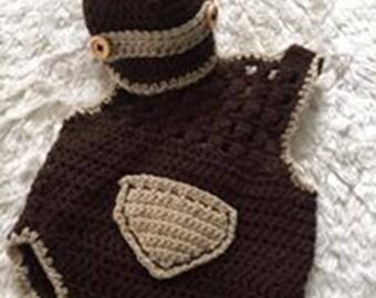 crochet baby boy romper suit, with news boy cap,Handmade Baby Clothes, Crochet Baby Clothes, newborn baby boy clothes, baby boy gift.