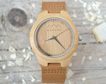 Gents Wood Watch by SONDER - Authentic Wooden watches, Engraved Wood Watches, Coffee and Caramel Mens Wooden Watch.