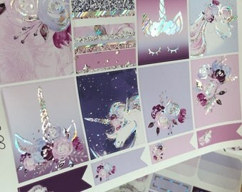 Unicorn Dreams with Premium Silver Holographic Unicorn Horn Foil CLASSIC HAPPY PLANNER Vertical Weekly Decorative Sticker Set