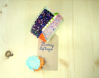 """Cuff Bracelet """"the asymmetrically"""" sequins and beads"""