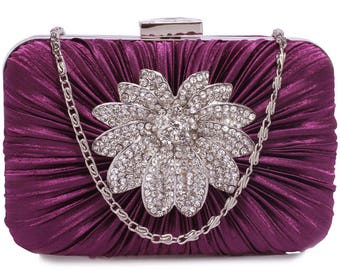 Gorgeous Satin Rouched Brooch Hard Case Purple Evening Bag - Bridal Prom