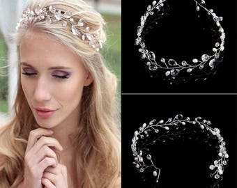 Crystal and Pearl Bridal Flower Hair Piece
