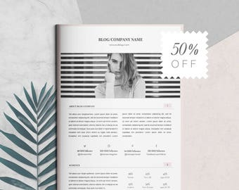 Media Kit Template and Ad Rate Sheet | Blog Media Kit | Branding Kit | Social Media Kit for Bloggers | For Photoshop and MS Word