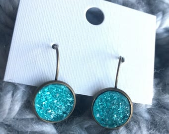 Teal Druzy French Hook Drop Earrings