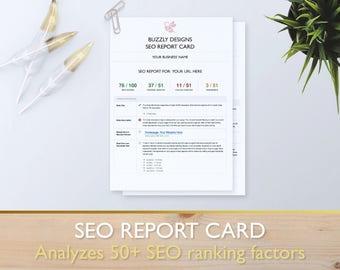 SEO Analysis/Report Card - Analyzes 50+ top SEO ranking factors- SEO Website Improvement Audit