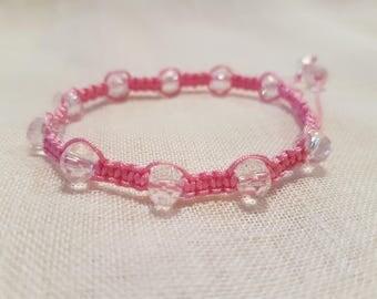 Swarovski Shamballa bracelet. Pink Macrame.