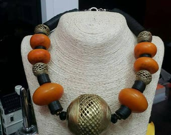 African Amber and Bronze necklace
