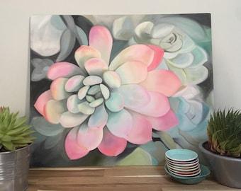 Pink Succulent, succulent Painting, Succulent Art, floral painting.