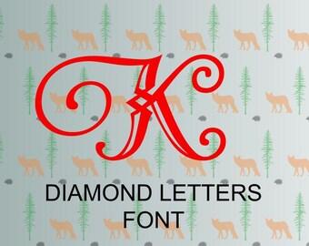 diamond letters font svg, monogram letter svg files for cricut, silhouette studio files, instant download clip art, cutting template, vector