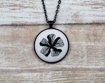 "Hand Embroidered Black Flower Pendant Necklace. 38mm (1.5"") Black Bezel. 24"" Black Chain"