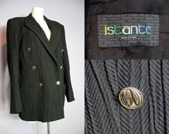 Vintage ISTANTE By GIANNI VERSACE Black Ribbed Ruched Blazer Jacket It 48 Eu 44 Uk 14/16