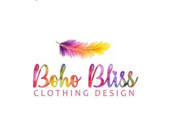 Boho Logo / Bohemian Logo / Nature Logo / Feather Logo / Watercolor Logo / Rainbow hues, Bright colors, Cursive font / Premade Indian logo