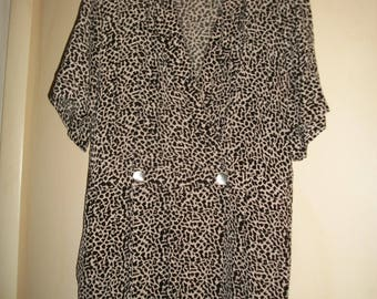 Vintage Black,Off-White Silk Animal Print Dress Size 18W