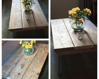 MULLION : Reclaimed Timber coffee table complete with hairpine legs