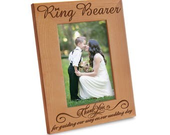 Thank you Ring Bearer Picture Frame -  Wedding Gift Picture Frame - Engraved Natural Wood Picture Frame