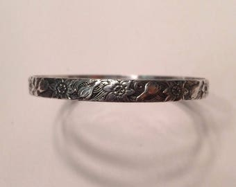 Vintage 1940's Danecraft & Felch Crocus Sterling Silver Bangle Bracelet