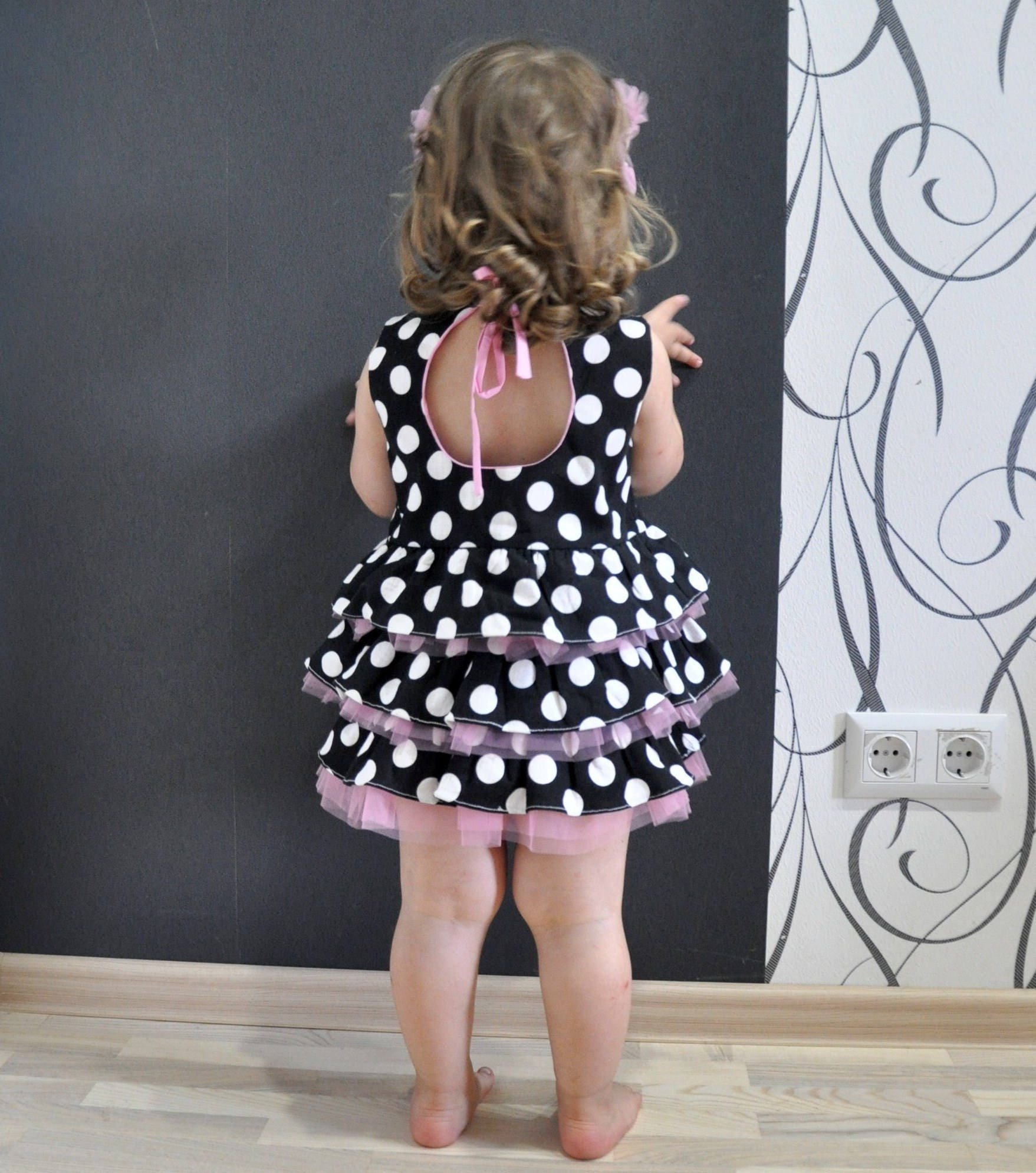 Dress Baby Girl Linen Dress Baby Girls black and white polka dot