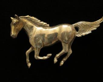Vintage Sterling Silver Running Horse Stallion Brooch Pin