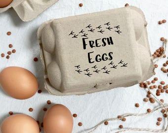 Egg Carton Stamp -  Chicken Tracks - Egg Carton Label - Egg Stamp - Custom Egg Carton - Chickens - Fresh Eggs