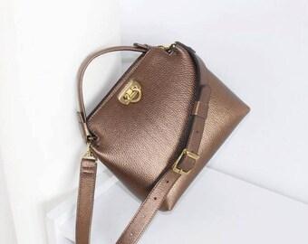 LITTLE LEATHER HANDBAG, Handmade little bag women, Womens little shoulder bag, Leather bag bronze colour, Womens handbags leather