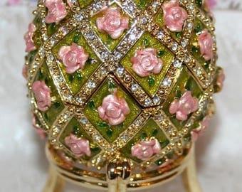 Œuf after K.faberge box musical jewelry enamel + Swarovski rhinestones