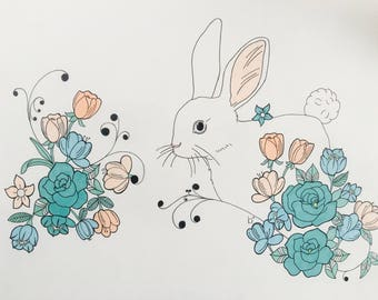 Pen and marker drawing of a bunny 14x17in