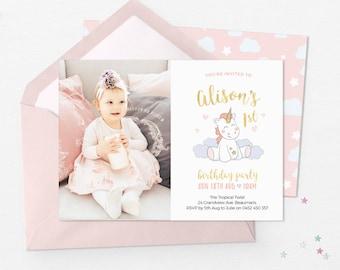 Unicorn photo invitations, photo invites printable Girl First birthday invitations photo Unicorn birthday invitation printable photo invite