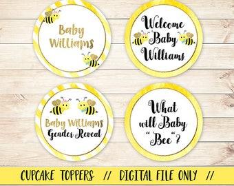 Bee Cupcake Topper, Gender Reveal Cupcake, Baby Bee Cupcake Topper, Bee Tag,