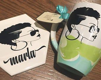 Marbled Coffee Mug and Coaster Set